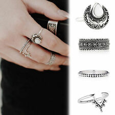 Silver Punk Vintage Ring Band Womens Retro Finger Rings Set Boho Style 4pcs Gift