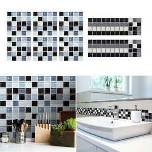 Self Adhesive Wall Sticker 6-90Pcs Waterproof Mosaic Tile Floor Kitchen Bath Dec