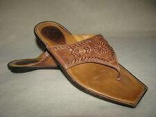 Charlie 1 Horse Brown Tooled Leather Thongs Slip On Sandals Sz 7 B Slides