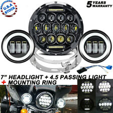 "7""LED Headlight+ 4.5inch Passing Lights For Harley Electra Glide Ultra Classic"