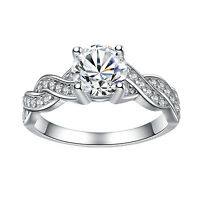 925 Sterling Silver Cubic Zirconia Round Cut CZ Infinity Women's Engagement Ring