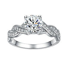 Cut Cz Infinity Women's Engagement Ring 925 Sterling Silver Cubic Zirconia Round