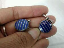 Nice vintage English AN  Sterling blue enamel cufflinks
