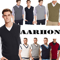 AARHON Mens Plus Size  V-Neck Sleevless Knitted Jumper-S-5XL