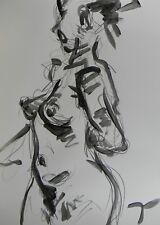 JOSE TRUJILLO ABSTRACT ACRYLIC PAINTING  NUDE WOMAN Black & White Original DECOR