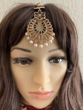 Indian Bollywood Style Gold Plated Black Design Maang Tikka Head Jewelry.
