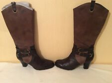 NEW(other) TAMARIS Brown/Taupe Knee high Leather /Boots Anti shock heel.Sz: 40