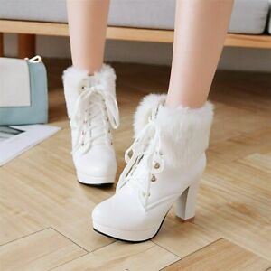 White Fur Platform Boots Women's Warm Wool Boots Shoe for Sexy Sweet Round Toe