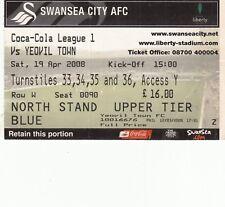 Ticket - Swansea City v Yeovil Town 19.04.08