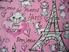 Spring Fabrics Disney Marie the Cat Eiffel Towers Pink Bon Jour Paris Merci