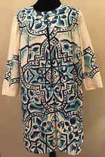 Chico's Womens Kimono Jacket Sz 2 Ivory Blue Floral Print Long Sleeve 100% Linen