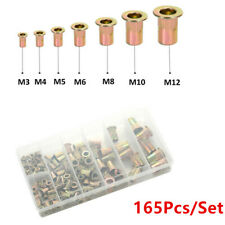 165pcs/Set Rivet Nut Tool Kits Zinc Steel Rivnut Insert Threaded Nutsert M3-M12