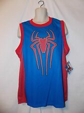 mens spider-man 2 logo muscle sleeveless poly t-shirt L nwt