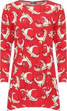 Magliette da donna a manica lunga con girocollo rosso
