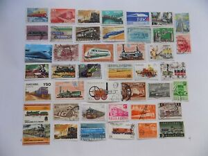 World Wide Topical Coll'n of used TRAIN stamps off paper -7-20-H