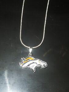 Denver Broncos Logo Necklace Pendant Sterling Silver Chain NFL Football