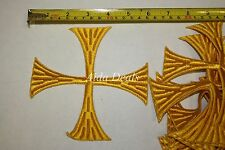 "(12 pcs) Iron Embroidered Religious Patch Yellow Cross 5""1/2x5""1/2(Design #0014)"