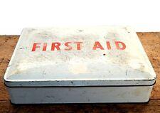 Vintage Retro Mid Century First Aid Kit Storage Tin Medical Shabby Metal