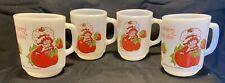 Vintage Anchor Hocking Milk Glass Strawberry Shortcake Mug Coffee Cup Set Of 4