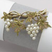 Antique Edwardian 10k Bi Rose Gold Grape Cluster Leaf Seed Pearl Brooch Pin