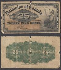 Canada 25 Cents 1900 (G-VG) Condition Banknote KM #9 Dominion