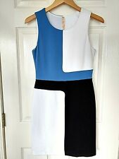 Bailey 44 Anthropologie White Blue Black ColorBlock DragonFish Dress NWT Women M