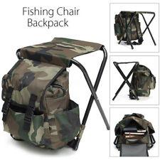 Outdoor Fishing Tackle Backpack Bag Box Camping Foldable Stool Seat Chair Box
