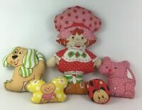 "Strawberry Shortcake Doll Pillow 18"" Handmade Fabric Panel 1980s Vintage Lot Pet"