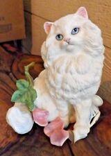 Large 1992 Franklin Mint Michelle White Cat Standing Over Broken Vase & Flowers
