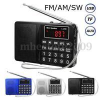 Portable LCD FM /AM/ SW Radio Stereo Speaker Music Player Audio Micro SD USB