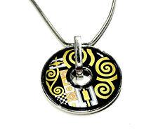 Bijou alliage argenté émaillé sur titanium collier donuts art déco necklace