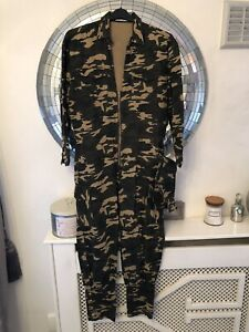 SCK THE LABEL - designer Jumpsuit Overalls Size UK 10 Army Camouflage