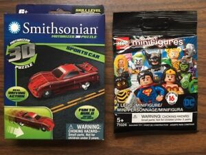 Lot of 2 Smithsonian Mini Motorized 3D Puzzle Sports Car & Lego mini figure
