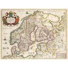 MAP ANTIQUE SCANDINAVIA NORWAY SWEDEN FINLAND 30X40 CM ART PRINT POSTER
