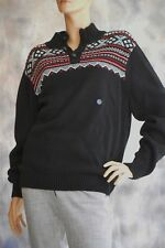 NWT CHAPS Sz L Ski Nordic Sweater Stand Up Collar w/ 1/4 Buttons Pullover Black