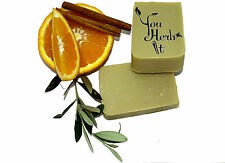 Greek Extra virgin Olive Oil Handmade Soap Orange+Cinnamon Scented 3 Bars