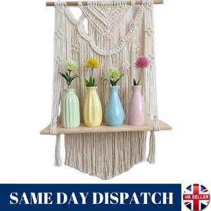Woven Macrame Wall Hanging Handwoven Rope Tapestry Shelf Organizer Home Decor UK