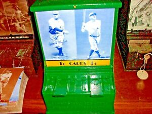 1930's Exhibit Supply Card Vendor 1¢ Baseball Greats, w/Cards, Working, Weights
