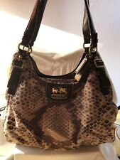 #WOW Coach Python Print Sateen Madison Maggie 19843 snake print tote purse NWOT