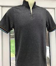 Fred Perry Bradley Wiggins Zip Polo Shirt - S - Grey Mod Casuals 60's Skins Ska