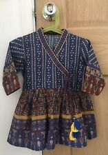 Asian Indian Pakistani Girls Blue Patterned Dress with Tassels Age 3-4 Years