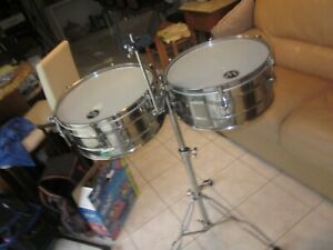 """LP Tito Puente Green Label 14"""" And 15"""" Timbales /LP Cowbell /double braced Stand"""