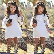 Flower Girl Princess Dress Kid Baby Party Wedding Pageant Formal Lace Dresses UK