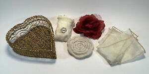 Metal Gold Colored Wire Heart Basket with Flower Pins Brooch and a Cloth Tote