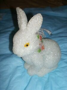 "Vintage Rabbit Melted Plastic Popcorn Night Light Lamp White Bunny 8.75"" Tall"