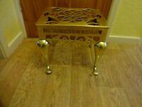 Victorian Brass Footman/Trivet/ Stool HOME SWEET HOME Height 30 x 39 x 28 cm