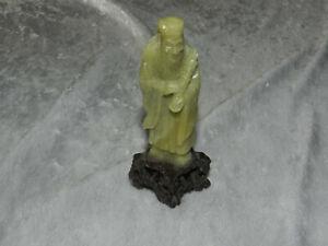 Ancienne statuette Moine en pierre Extrême Orient Chine Asie Chinese Sculpturing