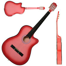 "New 38"" Beginner Plywood 19 Frets Cutaway Pink 6 Strings Folk Acoustic Guitar"