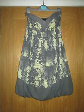 MISS SELFRIDGE GREY/LEMON STRAPLESS BUBBLE HEM DRESS UK 8 EX.COND