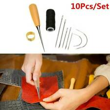 Leather Sewing Needles Stitching Awl Needle Thread Thimble Shoes Repair Tool Kit
